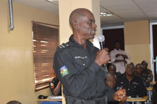 An officer making a point
