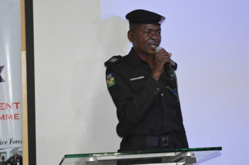 An officer making presentation on group task