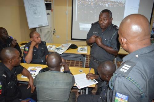 Officers brainstorming to resolve group task