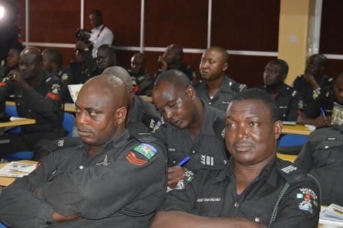 Some of the officers listening