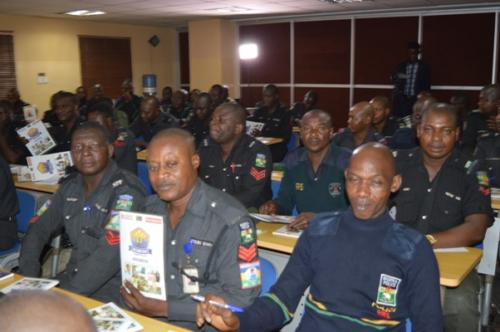 Cross section of officers during training