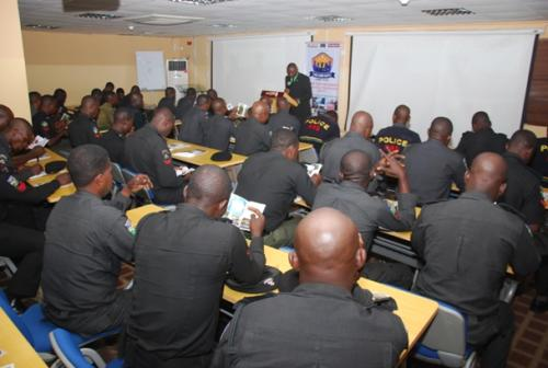 Cross section of officers during the training