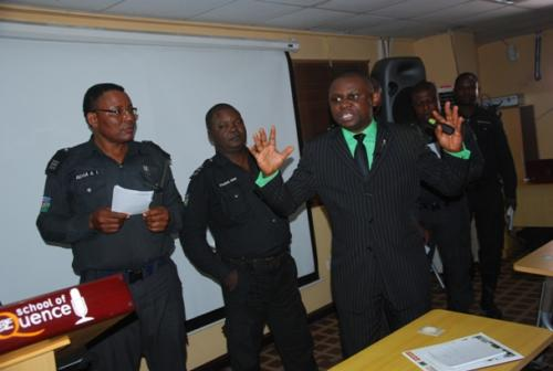 Mister Motivator making a point during the group presentations