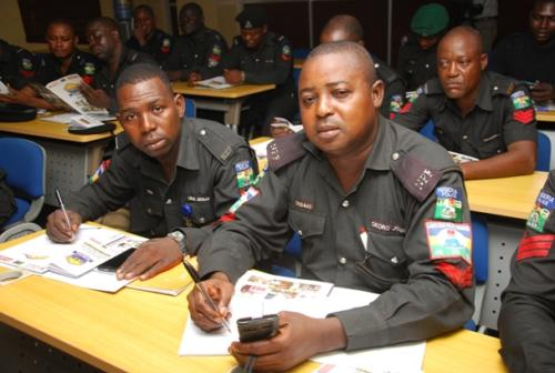 Some officers during the training
