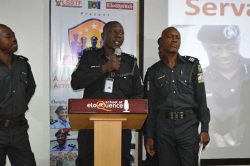 An officer making presentation