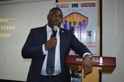 Degbola Lewis of Lagos State Security Trust Fund (LSSTF) addressing the officers