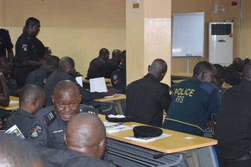 Officers brainstorming over group task